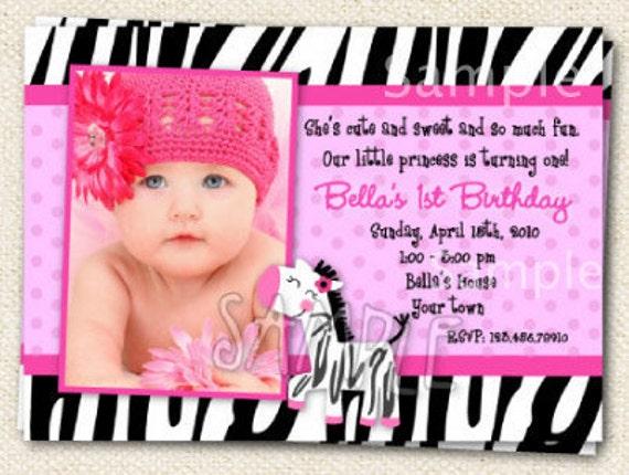 Zebra Print Hot Pink  Custom Photo Birthday Party Invitations