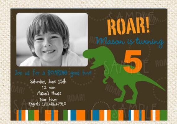 Dinosaur T-rex Birthday  Invitations