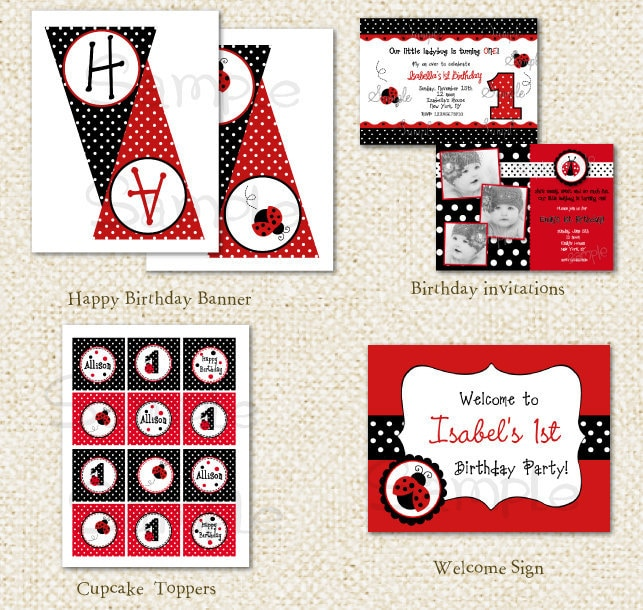 Ladybug DIY Printable Personalized Birthday Party Pack Party