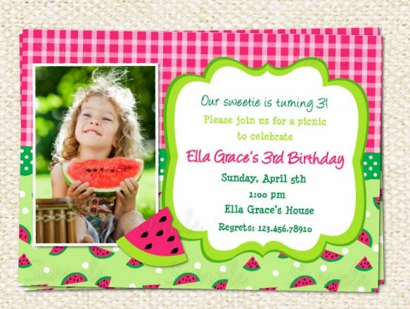 watermelon birthday invitations,