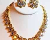 Vintage Crown Trifari Necklace and Earrings Signed