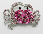 Crab Brooch Sea Creature Pink Rhinestones on Silvertone Metal CIJ Sale