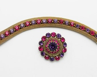 Weiss Brooch and Bracelet Vintage Set Fuchsia Pink and Purple