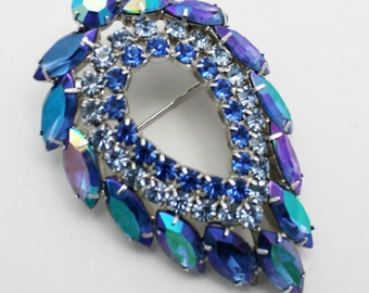 Vintage Sarah Coventry Brooch Blue Lagoon by DeLizza and Elster