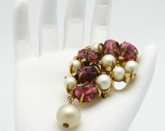 Vintage Brooch Lavendar Art Glass Beads Dangle