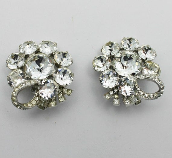 Vintage Eisenberg Earrings Clear Rhinestones