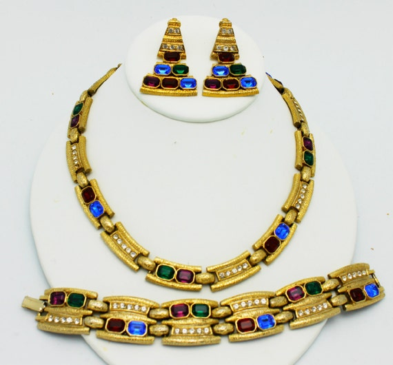 Vintage Egyptian Revival Style Parure Red Blue Green Clear on Gold