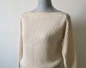 Vintage Anne Klein Cream Ribbed Boat-neck Sweater