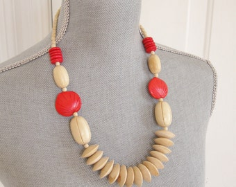 Vintage Wood Beaded Natural and Coral Necklace