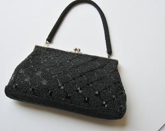 Black Beaded Frame Bag
