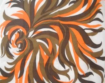 Vintage Burmel Orange, Brown and Cream Swirl Design Silk Scarf