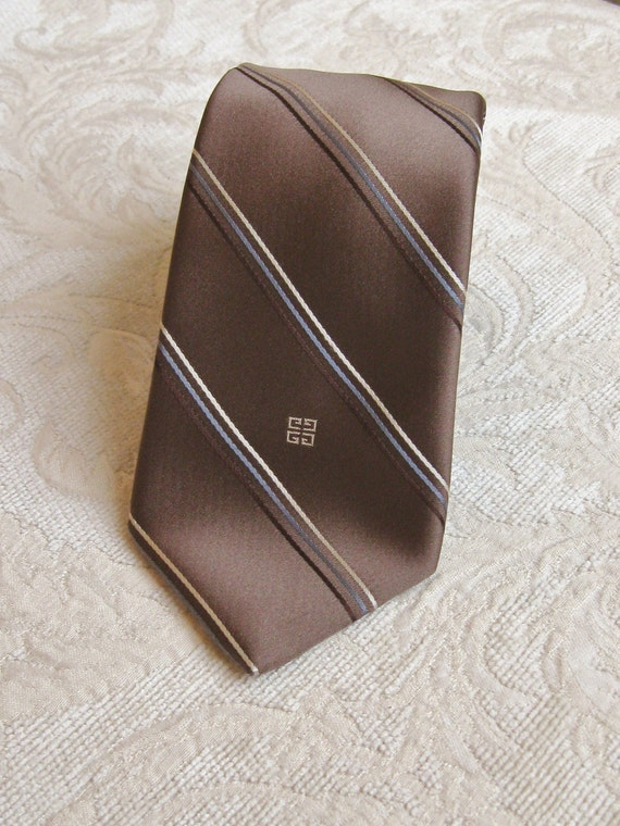 1970s Vintage Givenchy Brown Striped Mad Man Tie