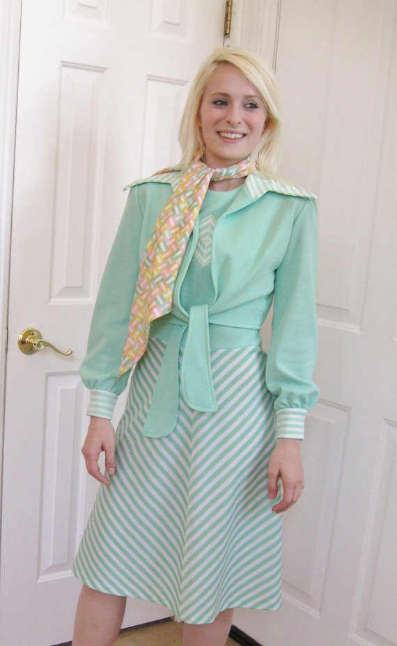 Reduced 20% Mint Green Two Piece Dress with Scarf