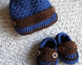 Adorable Crocheted Loafer's and Newsboy Hat Set Sizes Newborn to Toddler