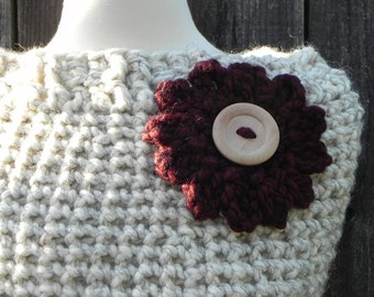 Crochet Pattern, Caplet, Sole, Cowl, with Flower embellishment