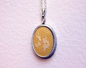 SHOP CLOSING 9/30 // Chantilly Lace - Lace Overlay Pendant Necklace - Silver Toned -Golden or Navy Cotton with cream lace