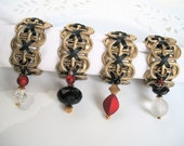 Beaded Soda Tab Napkin Rings - Elegance - Set of 4 - red, gold, black - upcycled/recycled/eco-friendly - under 20.00