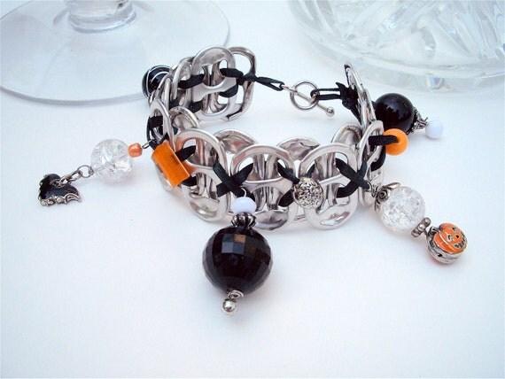 Pop Tab Bracelet - Trick or Treat upcycled