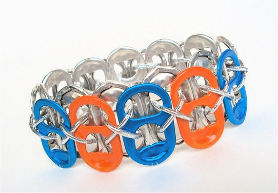 Soda Tab Bracelet - Blue and Orange Team Spirit - Eco Jewelry - for teens and adults - upcycled/recycled jewelry - under 10.00