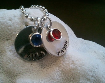 MOMMY of two children necklace. Two Disc. Two charm. Two childrens names/birthstones hand stamped on one chain