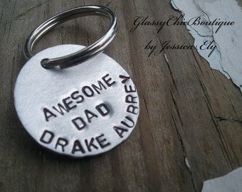 Keychain for men...Awesome Dad..with childrens names..OR you can CUSTOMIZE to your liking..Great GROOMSMEN gift idea..