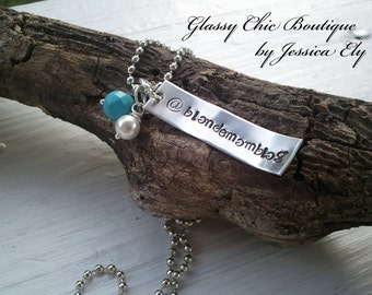 Twitter Handle Necklace...Custom Hand Stamped necklace...OR customize to your liking...arrives in a pretty organze bag