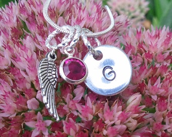 Memorial necklace..My Angel necklace..hand stamped initial. birthstone. angel wing...great memorial gift for yourself or a loved one