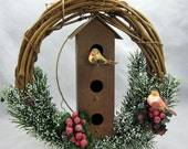 Christmas Wreath Birds and Birdhouse  304