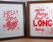 Hand-pulled linoleum prints - Hello Love & Long Time
