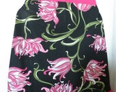 Hot Pink and Black Floral Ruffled Apron Valentine's Day - Vintage Appeal 80's