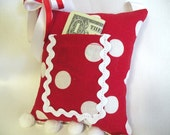 Red and White Polka Dot Tooth Fairy Pillow - Sweetheart Valentine's Gift for Girls