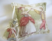 Country Charm Toile Pillow with Keepsake Tote for Weddings - Ring Pillow or Tooth Fairy Pillow