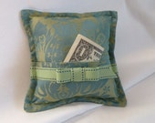 Gift Card Holder for Christmas or Tooth Fairy Pillow Blue Green Damask Design