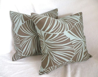 Tropical Pillow Covers 18 x 18 Aqua and Brown Waverly  Set of Two