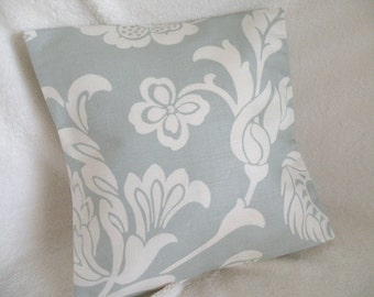 SALE - Cottage Style Pillow Cover Pale Blue and Creamy White Accent - Beach Coastal Decor