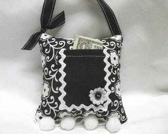 Gift for Girls Black and White Fun Floral Tooth Fairy Pillow or Purse