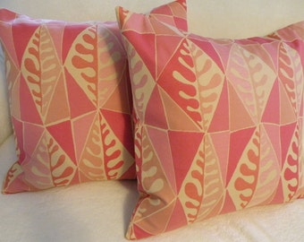 Salmon, Pink, Coral, Yellow Leaf Print Pillow Covers - Set of Two 18 x 18