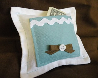 Gift for Girls Aqua Blue and White Tooth Fairy Pillow