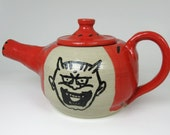 Japanese Oni Teapot Demon Teapot Hand Painted and Thrown Gothic Pottery