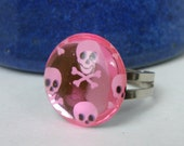 Pink Rockabilly Skull Ring Silver Plated Horror Ring