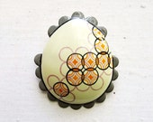 Enamel Brooch - Pysanky Egg Jewellery - Dove Grey
