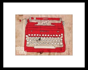 Art Print • 5x7 • Red Vintage Royal Typewriter • Original Illustration