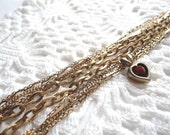 Gold Chain and a Red Heart Bracelet - Vintage Altered - OOAK