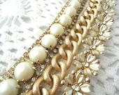 Bracelet Gold Rhinestone Pearl Flower Chain Bead - Vintage Altered
