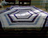 Crochet Blanket - Large Hexigan style blanke with purple, mauve, lavender and white (nannycheryl original)  ID  811    ( 67)