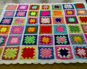 CROCHET BLANKET  Handmade with multi colour white border Cuddle Blanket (nannycheryl original) 769