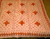 CROCHET Blanket with Peach and Orange Chunky and Cuddle Blanket ID 759  (nannycheryl original)