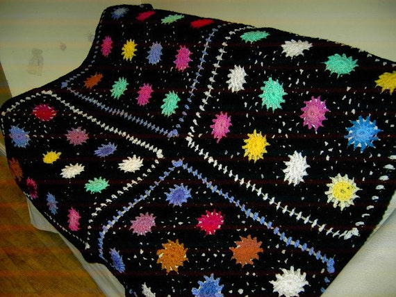 CROCHET BLANKET Handmade-  Made in 4 panels sun style multi colour style (nannycheryl original)  641 (A)