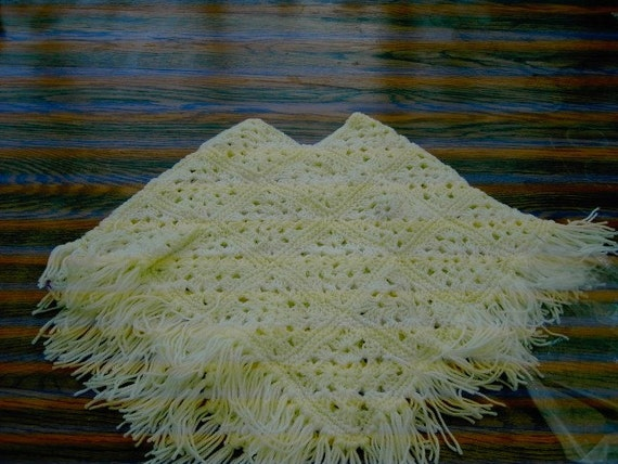 Yellow CROCHET Square PONCHO with fringe    ID 723 (nannycheryloriginal)