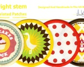 4 sew on patches cloth badges vintage accessories retro design cupcake, circus, polka dots, duck